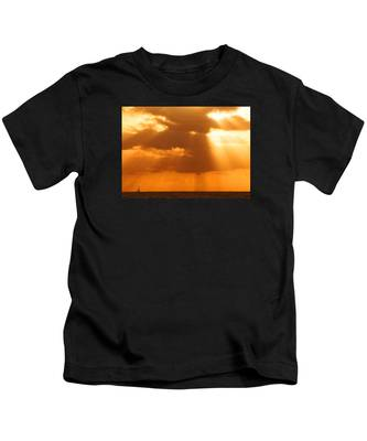 Sailboat Bathed In Hazy Rays Kids T-Shirt