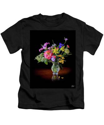 Spring Flowers In A Crystal Vase Kids T-Shirt by Endre Balogh