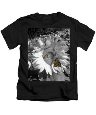 Sunflower In Black And White Kids T-Shirt