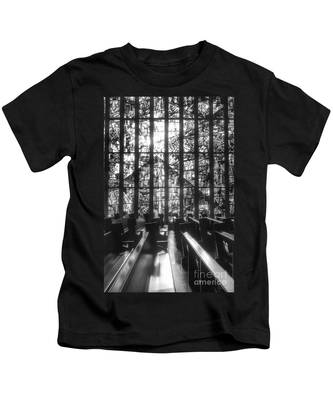 Sunlit Stained Glass At Czestochowa Shrine, Pa Kids T-Shirt