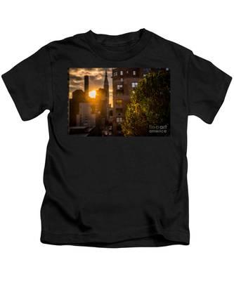 Sunset Over Manhattan New York City Kids T-Shirt