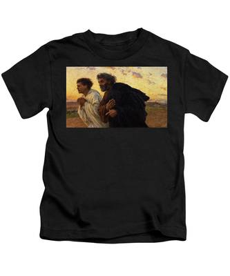 The Disciples Peter And John Running To The Sepulchre On The Morning Of The Resurrection Kids T-Shirt
