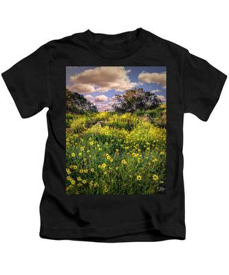 Kids T-Shirt featuring the photograph Chatsworth Wildflower Bloom by Endre Balogh