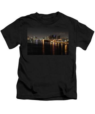 Miami Lights At Night Kids T-Shirt