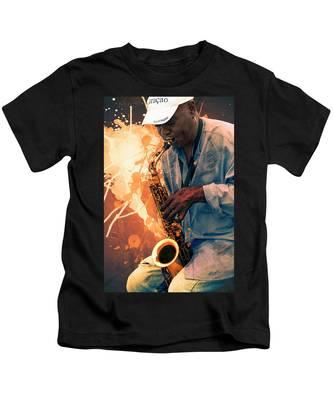 Street Sax Player Kids T-Shirt