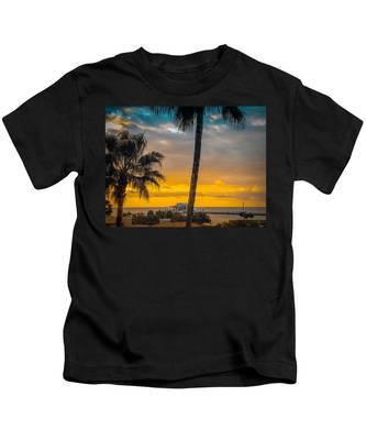 Sunset On The Island Kids T-Shirt