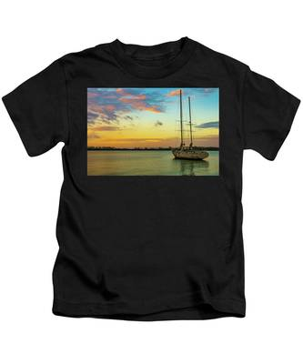 Sunset On The Lagoon Kids T-Shirt