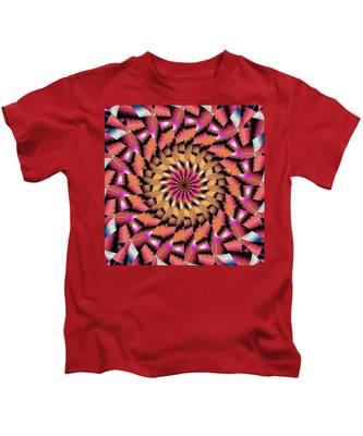 Kids T-Shirt featuring the drawing Rippled Source Kaleidoscope by Derek Gedney