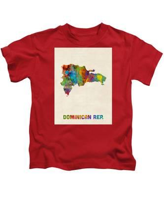 Dominican Republic Watercolor Map Kids T-Shirt