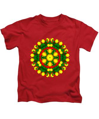 Fractal Christmas Wreath I Kids T-Shirt
