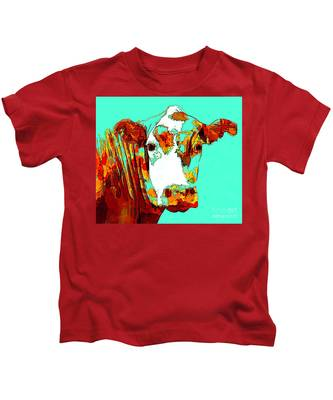 Turquoise Cow Kids T-Shirt