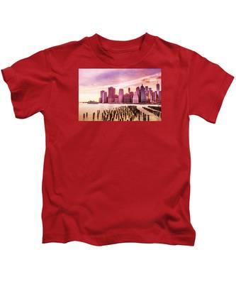 Lower Manhattan And Ferry Kids T-Shirt