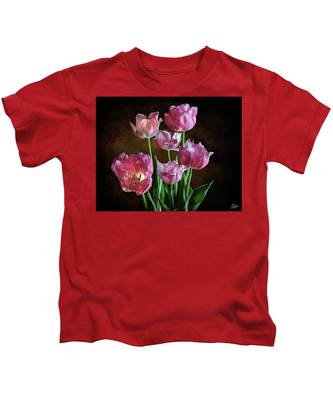 Pink Tulips Kids T-Shirt by Endre Balogh