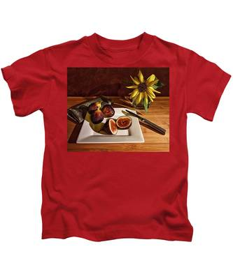 Still Life With Flower And Figs Kids T-Shirt