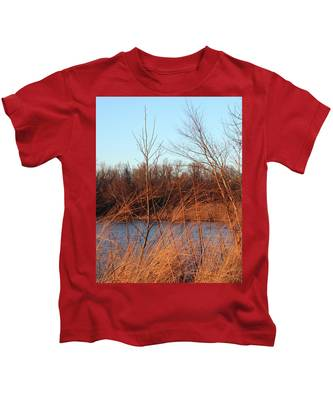 Sunset Field Over Water Kids T-Shirt