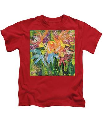 Zinnias Gone Mad Kids T-Shirt