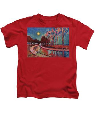 Moon Night At The Canal Kids T-Shirt