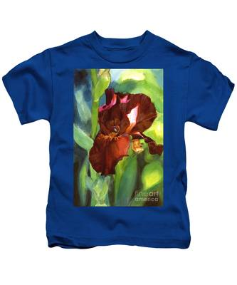 Watercolor Of A Tall Bearded Iris In Sienna Red Kids T-Shirt