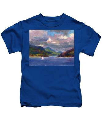 Smooth Sailing Sailboat On Alaska Inside Passage Kids T-Shirt