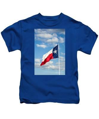 Texas State Flag Waving Kids T-Shirt