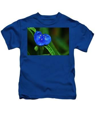 Yellow Blue And Raindrops Kids T-Shirt