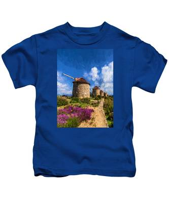 Windmills Of Portugal Kids T-Shirt