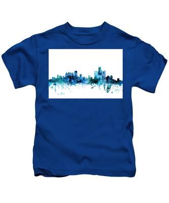 Detroit Michigan Skyline Kids T-Shirt