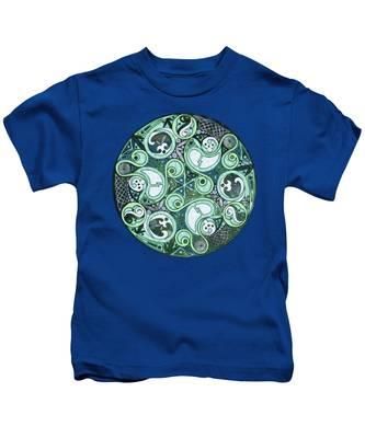 Celtic Stormy Sea Mandala Kids T-Shirt