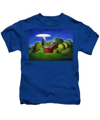 Feline Ufo Abduction Kids T-Shirt