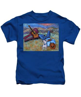 Guitar Doggy And Me In Wine Country Kids T-Shirt