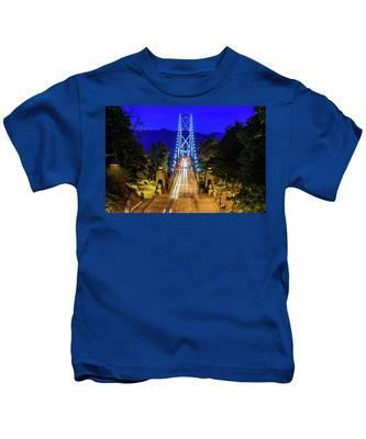 Lions Gate Bridge At Night Kids T-Shirt