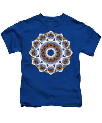 Peacock Fractal Snow Flower Kids T-Shirt