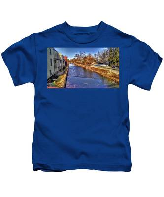 The Canal At New Hope In Winter Kids T-Shirt