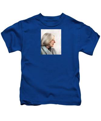 Woman In Grey Kids T-Shirt