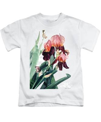 Watercolor Of A Pink And Maroon Tall Bearded Iris I Call Iris La Forza Del Destino Kids T-Shirt