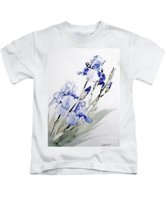Blue Irises Kids T-Shirt