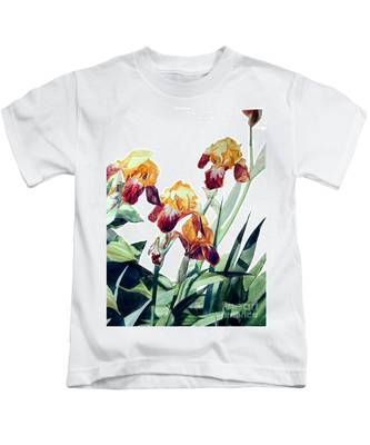 Watercolor Of Tall Bearded Irises I Call Iris La Vergine Degli Angeli Verdi Kids T-Shirt