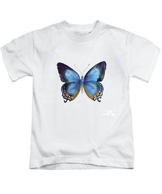 80 Imperial Blue Butterfly Kids T-Shirt