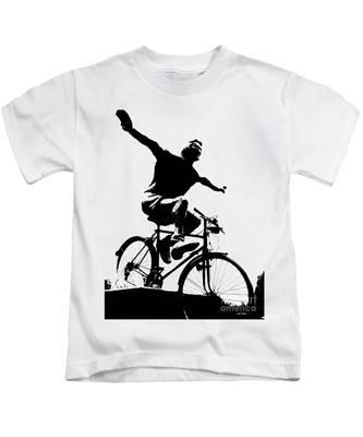 Bicycle - Black And White Pixels Kids T-Shirt