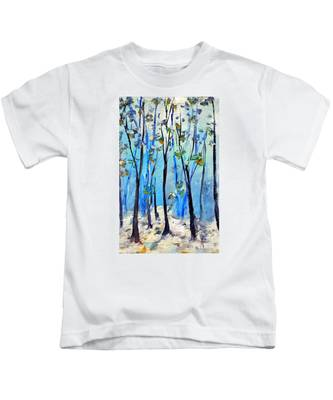 Blue Thoughts In Winter Kids T-Shirt