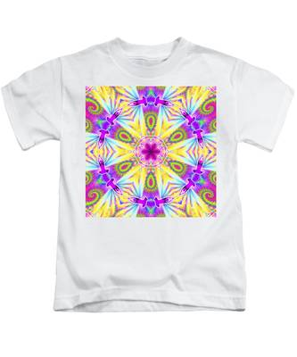 Kids T-Shirt featuring the digital art Cosmic Spiral Kaleidoscope 06 by Derek Gedney