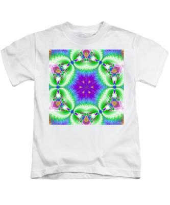 Kids T-Shirt featuring the digital art Cosmic Spiral Kaleidoscope 10 by Derek Gedney