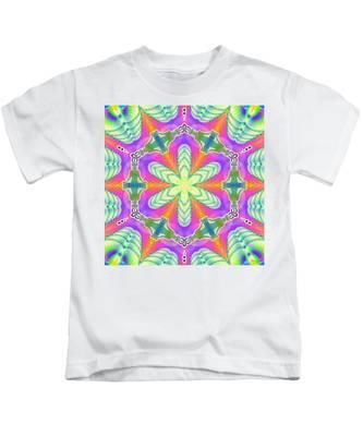 Kids T-Shirt featuring the digital art Cosmic Spiral Kaleidoscope 18 by Derek Gedney