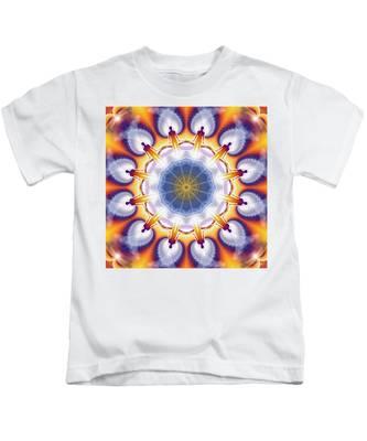 Kids T-Shirt featuring the digital art Cosmic Spiral Kaleidoscope 34 by Derek Gedney