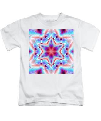 Kids T-Shirt featuring the digital art Cosmic Spiral Kaleidoscope 45 by Derek Gedney