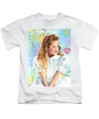 Girl In A White Lace Dress  Kids T-Shirt