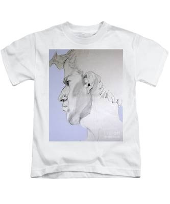 Graphite Portrait Sketch Of A Young Man In Profile Kids T-Shirt