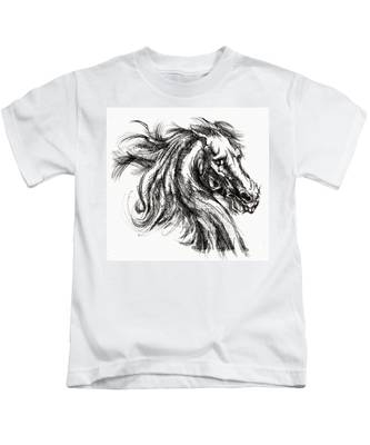 Horse Face Ink Sketch Drawing - Inventing A Horse Kids T-Shirt