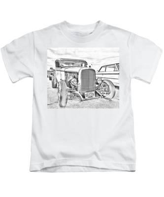 Hot Rod Faux Sketch Kids T-Shirt