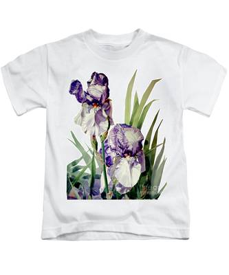 Watercolor Of A Tall Bearded Iris In Violet And White I Call Iris Selena Marie Kids T-Shirt